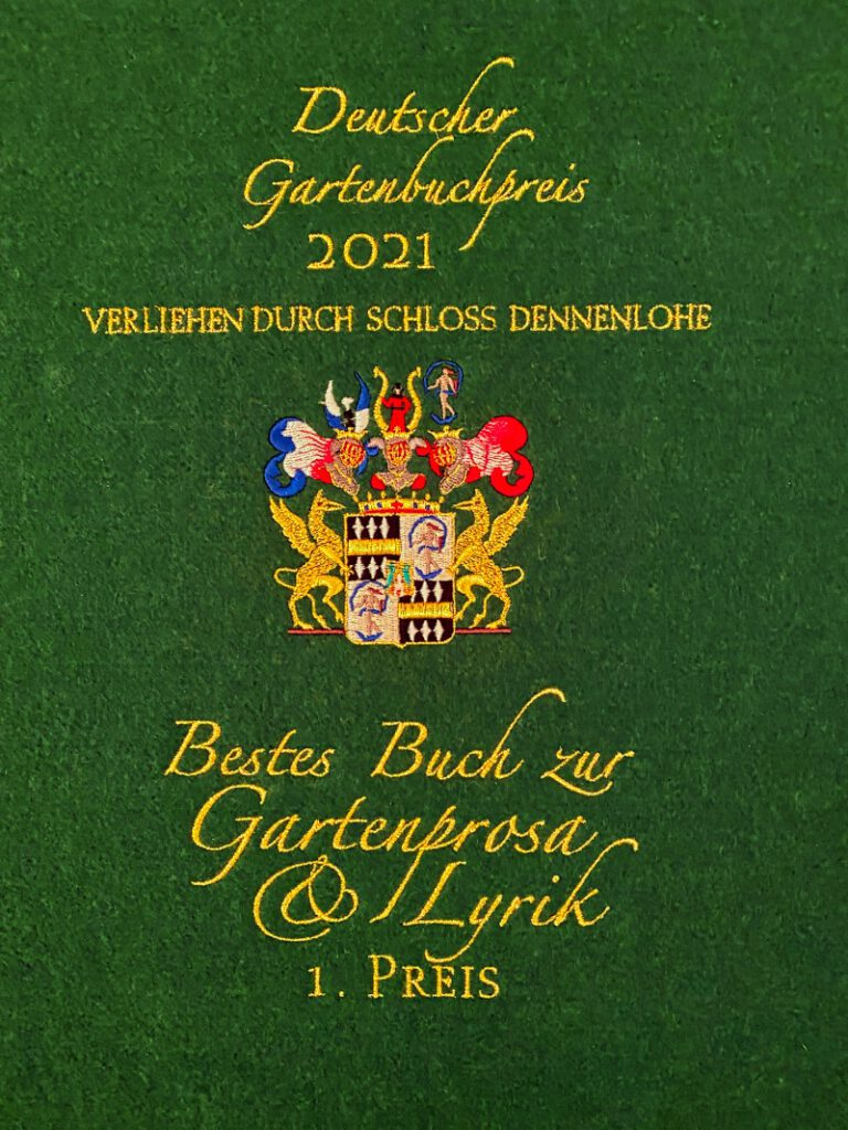 """Urkunde zum 1. Preis """"Bestes Buch zur Gartenprosa"""""""